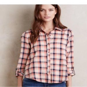 Holding horses Anthropologie plaid top size 2